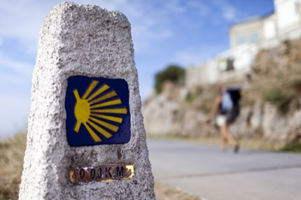 A series of signs guide travellers along the pilgrimage route